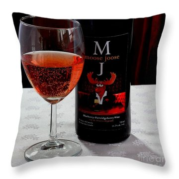 Moose Joose - Blueberry Partridgeberry Wine  Throw Pillow by Barbara Griffin