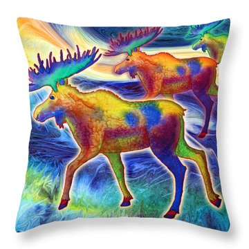 Throw Pillow featuring the mixed media Moose Mystique by Teresa Ascone