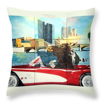 Moose Rapids Il Throw Pillow