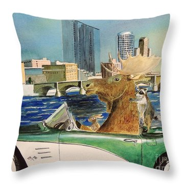Moose Rapids Or Moose City Drive Throw Pillow by LeAnne Sowa