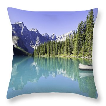 Moraine Lake And Valley Of The Ten Throw Pillow by Ken Gillespie