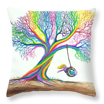 More Rainbow Tree Dreams Throw Pillow by Nick Gustafson