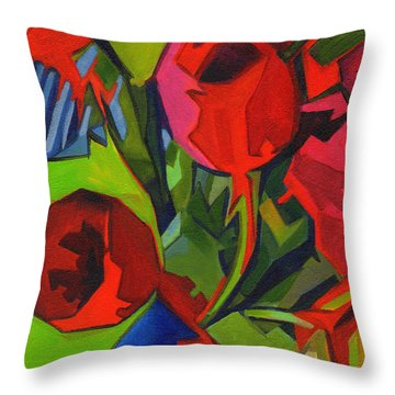 More Red Tulips  Throw Pillow