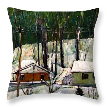 Throw Pillow featuring the painting More Snow Tonight by Charlie Spear