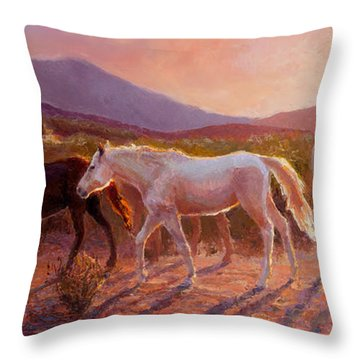 More Than Light Arizona Sunset And Wild Horses Throw Pillow