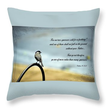 More Value Than Sparrows Throw Pillow by Larry Bishop