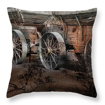 Throw Pillow featuring the photograph More Wagons East by Gunter Nezhoda