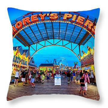 Moreys Piers In Wildwood Throw Pillow
