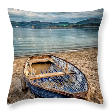 Throw Pillow featuring the photograph Morfa Nefyn Boat by Adrian Evans
