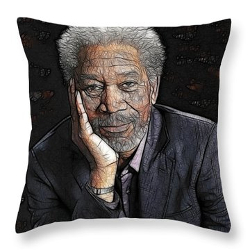 Throw Pillow featuring the painting Morgan Freeman  by Georgeta Blanaru