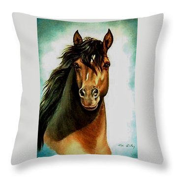 Throw Pillow featuring the painting Morgan Horse by Loxi Sibley