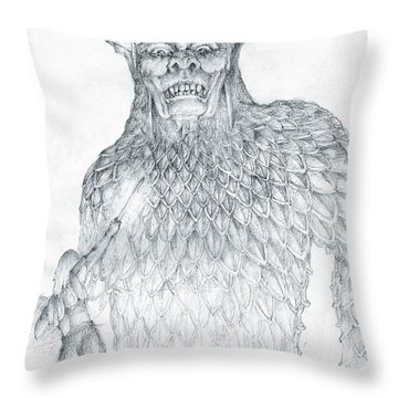 Throw Pillow featuring the drawing Morgoth And Fingolfin by Curtiss Shaffer