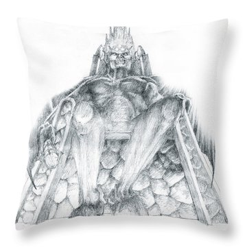 Throw Pillow featuring the drawing Morgoth Bauglir by Curtiss Shaffer