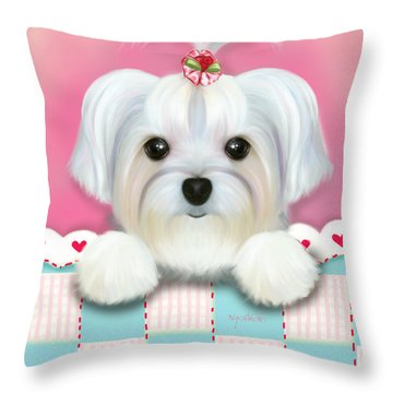 Morkie Shelly Throw Pillow