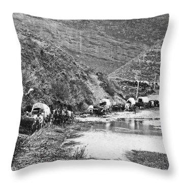 Mormon Emigrant Conestoga Caravan 1879 - To Utah Throw Pillow by Daniel Hagerman