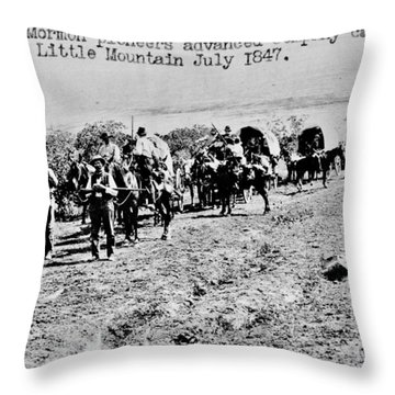 Mormon Pioneers Throw Pillow by Benjamin Yeager