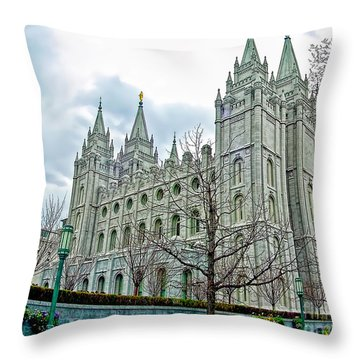 Mormon Temple In Early Spring Throw Pillow