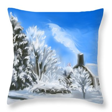 Morning After The Snowstorm  Throw Pillow