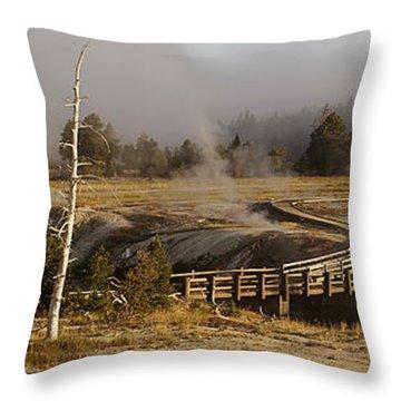 Morning At Castle Bridge Throw Pillow