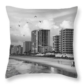 Morning At Daytona Beach Throw Pillow