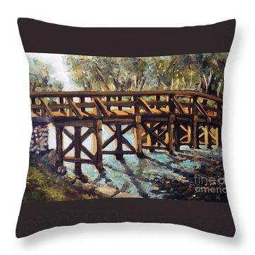 Throw Pillow featuring the painting Morning At The Old North Bridge by Rita Brown
