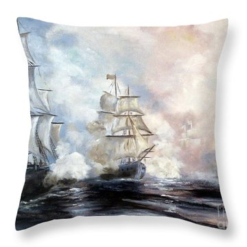 Throw Pillow featuring the painting Morning Battle by Lee Piper