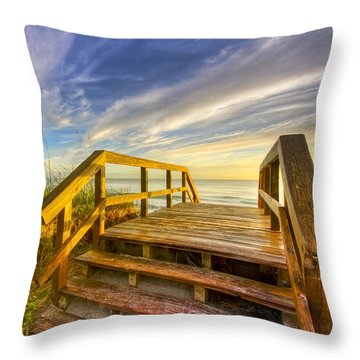 Throw Pillow featuring the photograph Morning Beach Walk by Debra and Dave Vanderlaan