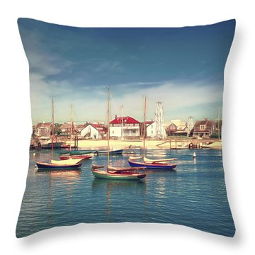Throw Pillow featuring the photograph Morning Boats Nantucket by Jack Torcello