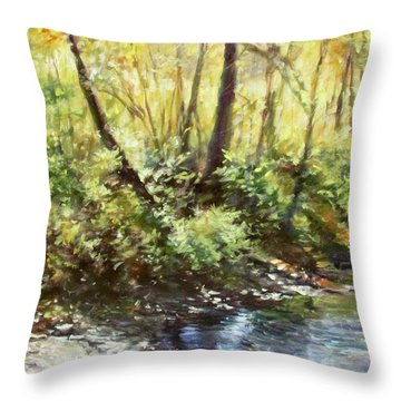 Morning By The River Throw Pillow
