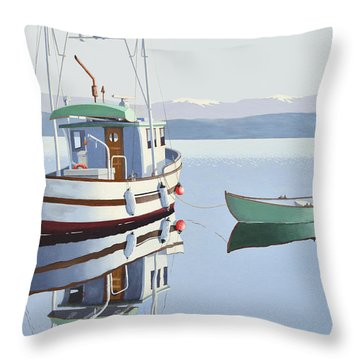 Morning Calm-fishing Boat With Skiff Throw Pillow