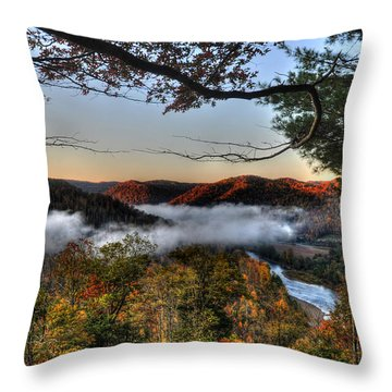 Morning Cheat River Valley Throw Pillow by Dan Friend