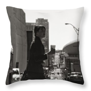 Morning Coffee At Starbucks In Nashville Throw Pillow by Dan Sproul