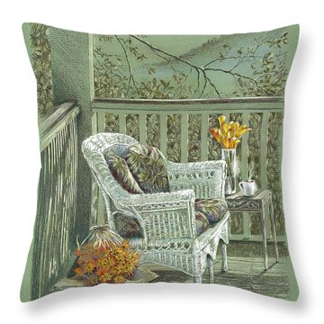 Morning Coffee At The Piedmont Inn Throw Pillow