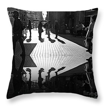 Throw Pillow featuring the photograph Morning Coffee Line On The Streets Of New York City by Lilliana Mendez
