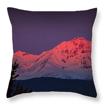 Morning Dawn On Two Of Three Sisters Mountain Tops In Oregon Throw Pillow