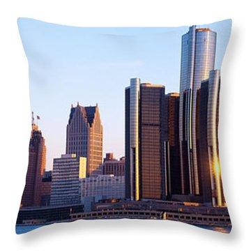 Morning, Detroit, Michigan, Usa Throw Pillow