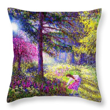 Morning Dew Throw Pillow by Jane Small