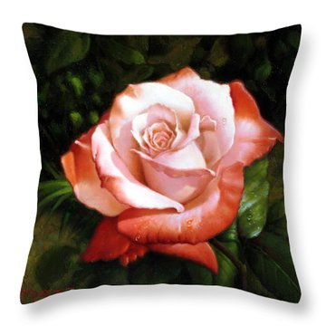 Morning Dew On The Rose Faded Throw Pillow