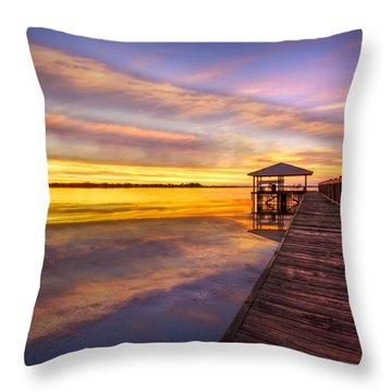 Morning Dock Throw Pillow by Debra and Dave Vanderlaan