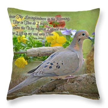 Morning Dove With Verse Throw Pillow by Debbie Portwood