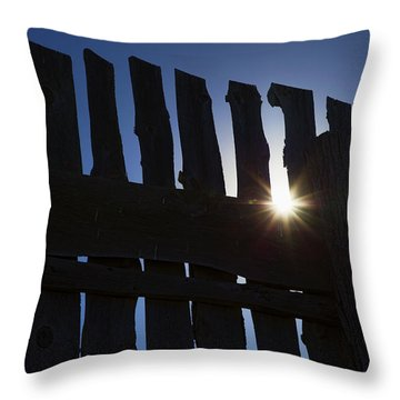 Morning Fence Throw Pillow by Sylvia Thornton
