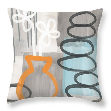 Morning Flowers Throw Pillow by Linda Woods