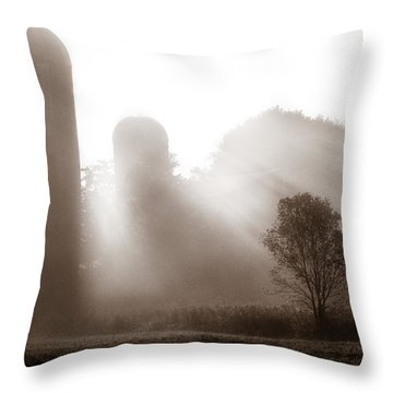 Morning Fog Burning Off The Farm Throw Pillow