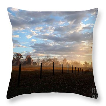 Morning Fog Throw Pillow by Christy Ricafrente