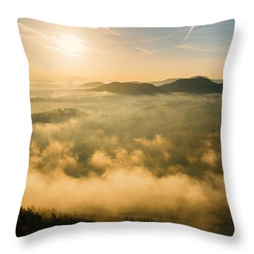 Morning Fog In The Saxon Switzerland Throw Pillow