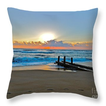 Morning Footprints Throw Pillow
