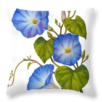 Morning Glories - Ipomoea Tricolor Heavenly Blue Throw Pillow