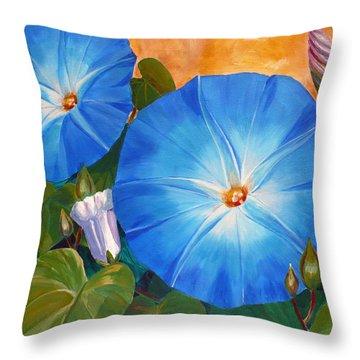 Morning Glories Throw Pillow