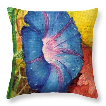 Morning Glory Bloom In Apples Throw Pillow