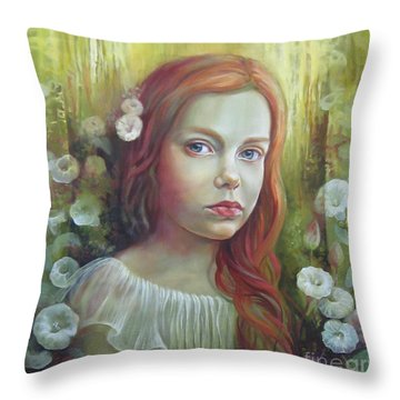 Morning Glory Throw Pillow by Elena Oleniuc